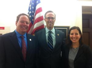 Fred Dubick, O.D., and AOSA Advocacy Co-Chair Melissa Moore (UC-Berkeley) meet with California Rep. Jared Huffman.